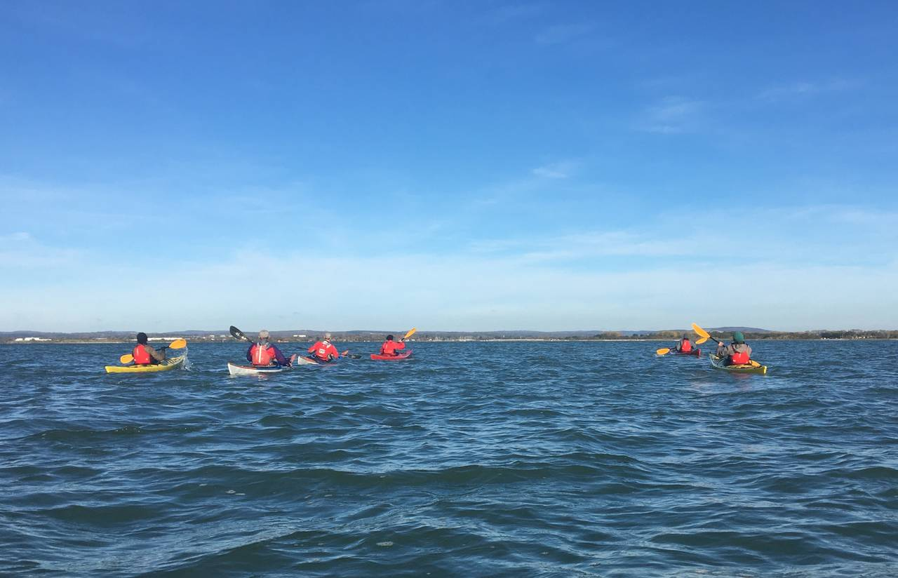 Group paddling around Hayling Island